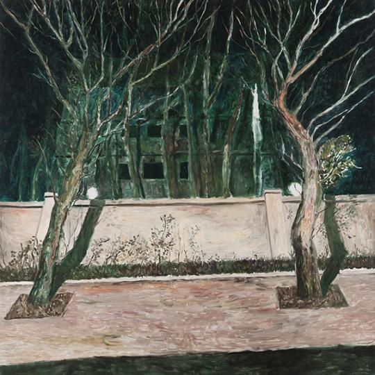 《夜路》布面油画 150×150cm2014年