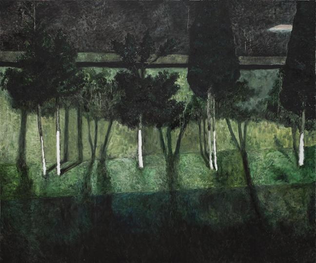 《黑绿色》布面油画 150×180cm2014年