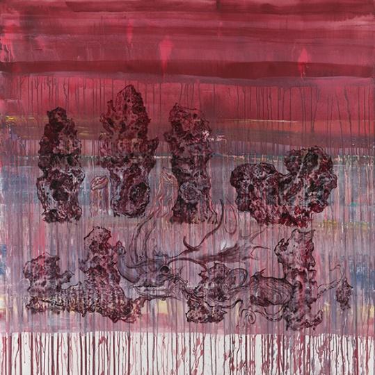 《太岁与石林》布面综合材料 150×150cm 2014年