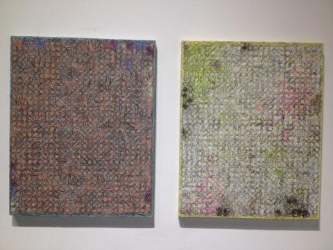 陈墙 《作品15-6、15-5》 100×80cm×2 布面宣纸、墨、油画 2015
