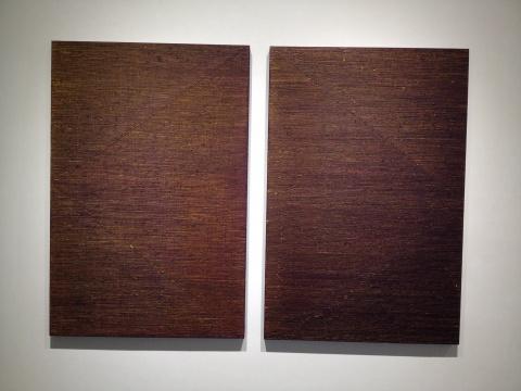 迟群 《向中间-黄紫NO.1》、《向中间-黄紫NO.2》 150×100cm×2 布面油画 2015
