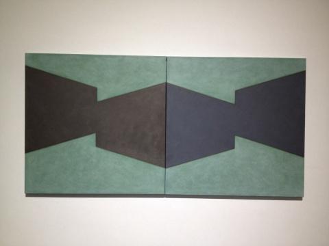 陈丽珠 《空间系列NO.27》 100×100cm×2 布面油画 2014