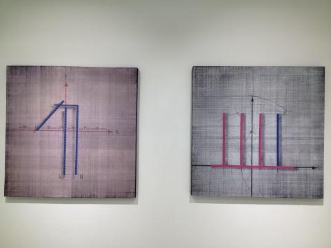 唐明伟 《构造01b NO.4》、《四条竖线 NO.2》 120×120cm、120×120cm 布面油画 2013