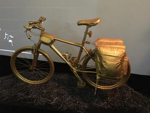 """骑行的自行车,路下一片""""荆棘"""""""