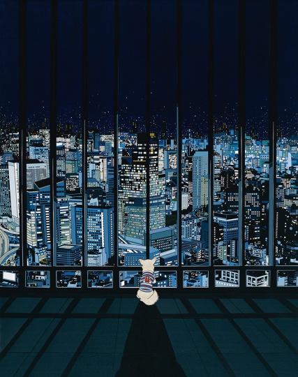 陈飞《熊熊的野心》 240×190cm 布面丙烯 2009,这件作品在苏富比(北京)2013年秋拍上以542.8万成交,刷新其个人拍卖成交纪录