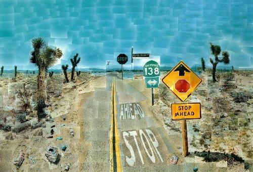《梨花公路》(Pearblossom Highway),77x1121/2in,摄影拼贴,1986年,©David Hockney