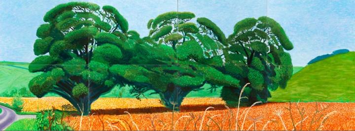 《Three Trees Near Thixendale,Summer》,182.8×487.6cm, 布面油画(8联屏),2007年 ,© David Hockney