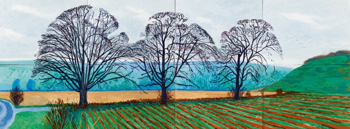 《Three Trees Near Thixendale,Winter》,182.8×487.6cm, 布面油画(8联屏),2007年,© David Hockney