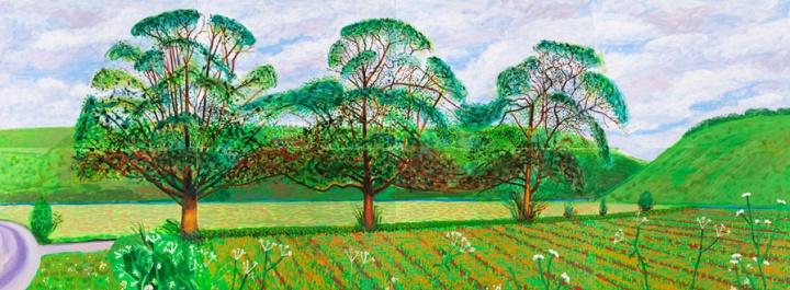 《Three Trees Near Thixendale,Spring》,182.8×487.6cm,布面油画(8联屏),2008年 ,© David Hockney