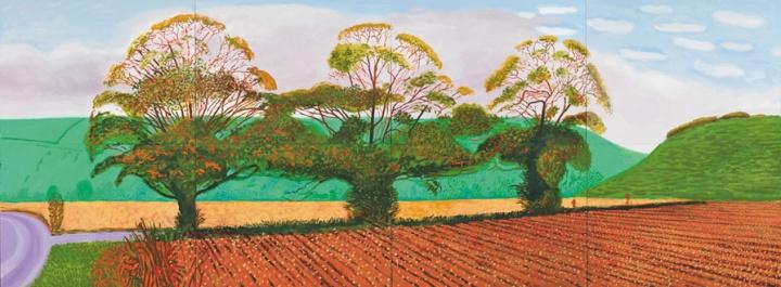 《Three Trees Near Thixendale,Autumn》,182.8×487.6cm,布面油画(8联屏),2008年 ,© David Hockney