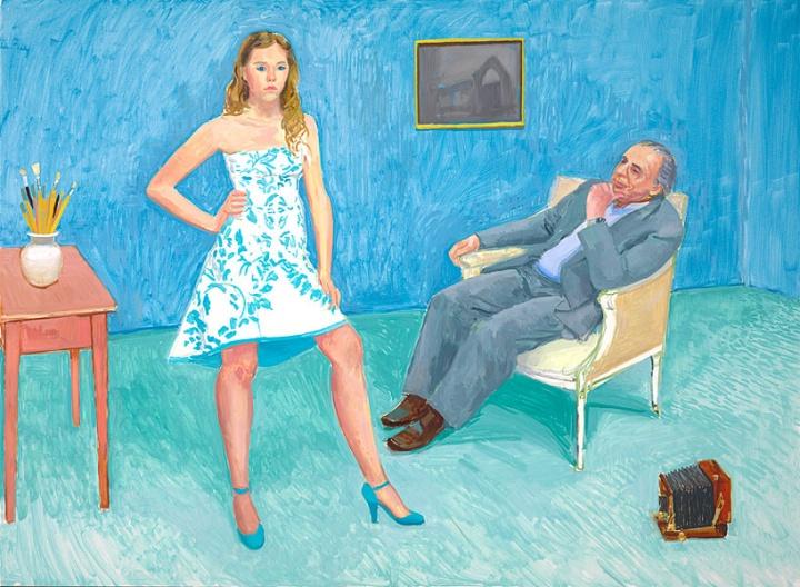 《The Photographer & His Daughter (Jim & Chloe McHugh)》,142.2×193cm,布面油画,2005年,© David Hockney