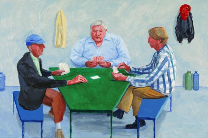 《Card Players #1》,122×183 cm,布面油画,2014年,©David Hockney