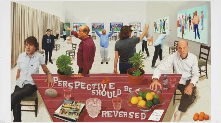 《Perspective Should Be Reversed》,108×177cm,纸上喷绘摄影绘画,25版,装于铝塑板上,2014年,© David Hockney