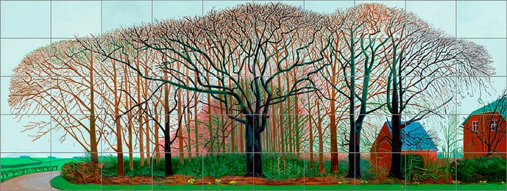 《Bigger Trees Near Warter》, 457.2×1219.2cm,布面油画(50张),2007年,©David Hockney
