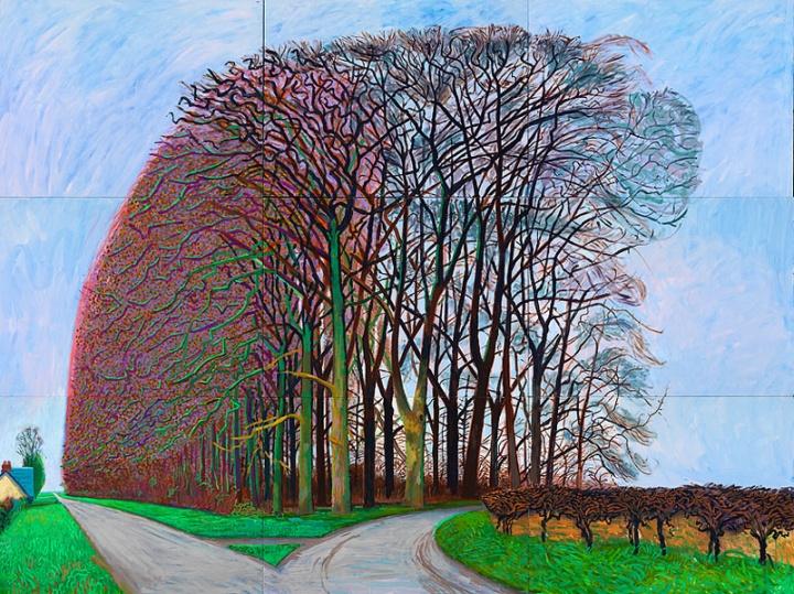 《Bigger Trees Nearer Warter,:Winter 》,274.3×365.7cm,布面油画(6张),2007年,©David Hockney