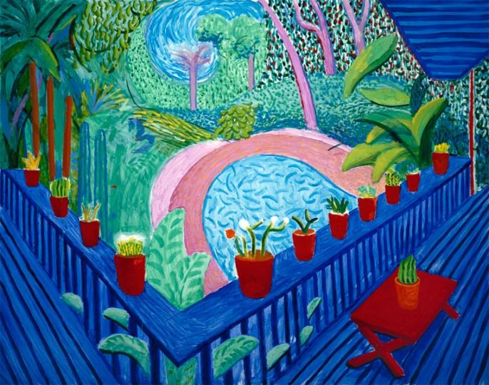 《Red Pots In The Garden》,152.4×193cm,布面油画,2000年,© David Hockney
