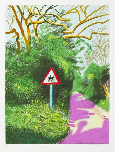 《The Arrival of Spring in Woldgate, East Yorkshire in 2011 (Twenty Eleven) - 5 May》,139.7×105.4 cm,iPad绘画纸上打印,2011年,© David Hockney / Richard Schmidt
