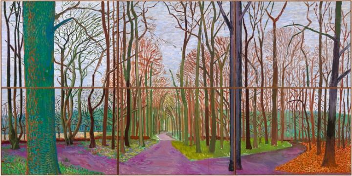 《Woldgate Woods》,182.8×365.7cm,布面油画(6张),2006年3月30日-4月21日,©David Hockney