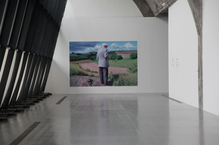 """大卫·霍克尼个展""""春至""""现场,霍克尼通常喜欢以背影示人,此时他和风景是完全在一起的,摄影:吴丹丹"""