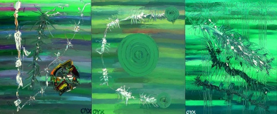Lot 104 欧阳春《深海动物》(三联作) 100 x 243 cm 油彩画布 2005 估价:16-30万元