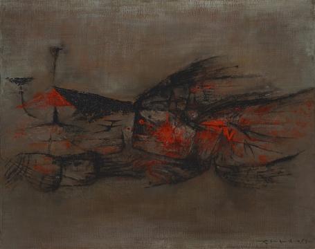 Lot 145 赵无极《火鸟》73 x 92cm 油彩画布 1954 估价:1000-1500万港元