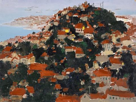 Lot 150 吴冠中《滨海城市(青岛)》46 x 61 cm 油彩木板 1975 估价待询
