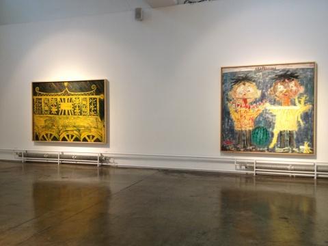 欧阳春 《王者殉道》、《瓜果派对》布面油画 ,色彩的自我释放,作品充满童趣的同时暗含成人化的内在逻辑