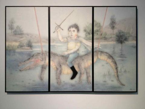曾健勇 《远路》 121×200cm 彩墨纸本2015中国水墨画的神韵与西方绘画的故事性合而为一