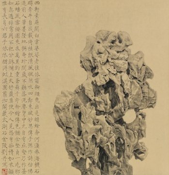 刘丹 《翦淞阁藏太湖石》 68x68cm 纸本设色 2014