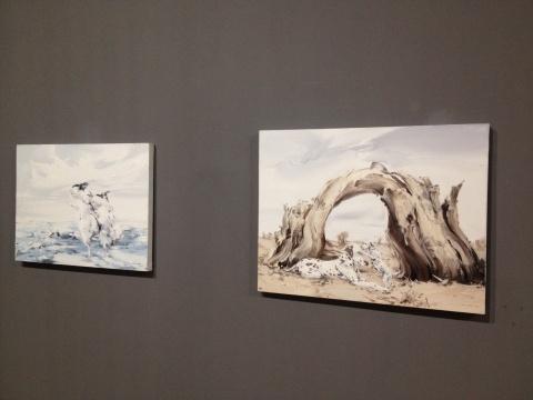 申树斌 《欢乐的舞蹈》、《新家No.2》 100×100cm、70×90cm 布面油画 2014
