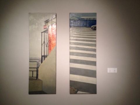 许琦 《阳台》、《斑马线》 50×150cm×2 布面油画 2008、2007