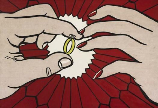 罗伊•利希滕斯坦于1962年创作的波普绘画《The Ring(Engagement)》