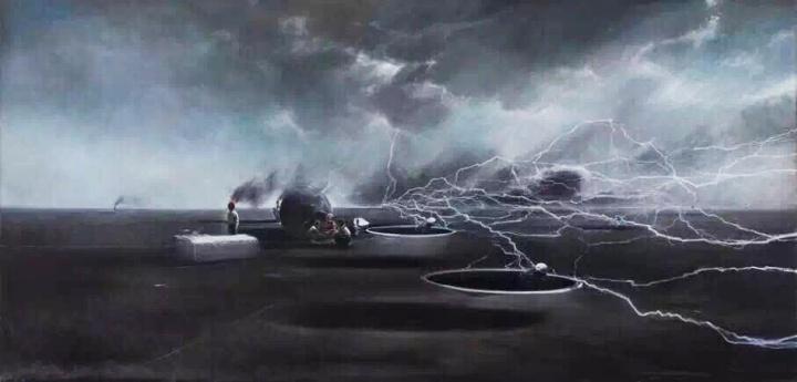 贾蔼力《北柳草岛的回忆I》240 x 500cm布面油画  2013-2014