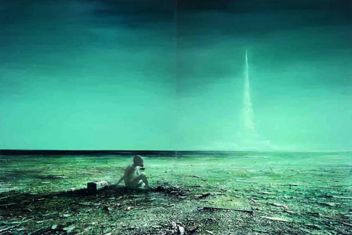贾蔼力《无名日2》(两联作) 267 x 400 cm 布面油画 2007 成交价:930万元 上海佳士得2015春拍