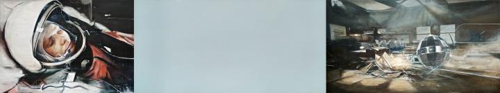 贾蔼力《早安,世界》(三联作)200 x 1067 cm 布面油画  2010 创艺术家个人成交记录 成交价:1328万港元 香港苏富比2015春拍