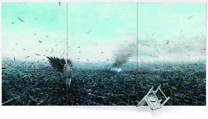 贾蔼力《苍白的不只是你》(三联作) 300x 600cm布面油画  2007  成交价:662万港元 香港苏富比2012春拍