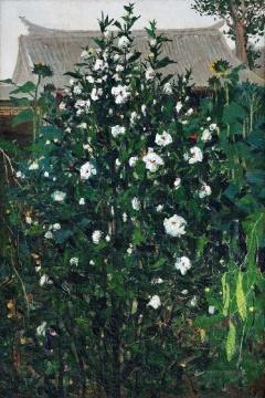 Lot 4006 吴冠中《木槿》 120×80cm 布面油画 1975 4800万元起拍 6900万元成交 创造了今年春季中国油画的最高单价