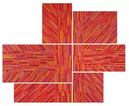 Lot 4082  丁乙《十示之六》(一组) 150×110cm、120×160cm、140×250cm、100×190cm、70×120cm、110×110cm  2005 苏格兰格子布上丙烯  成交价:720万元