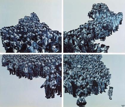 黄敏作品《青花瓷板——中国地图》