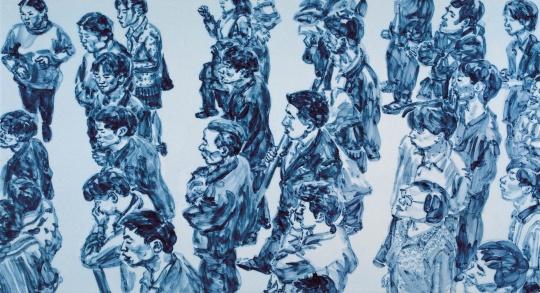 黄敏2005年作品《青花瓷板》