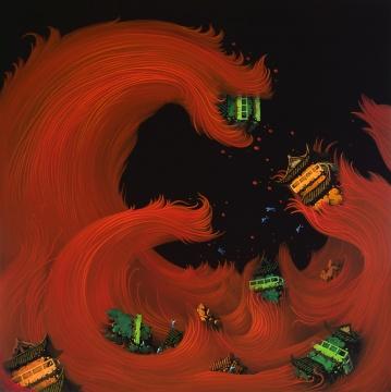 《红潮》120×120cm布面丙烯 2013年