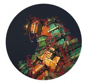 《红城记》 直径100cm 布面丙烯 2013年