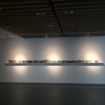 帕斯卡尔•孔韦尔 《图书馆的残片:遗忘之书的晶体》 21×450×11cm 纸本、玻璃 2015