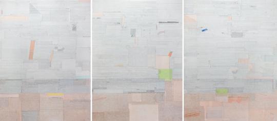 Lot431 梁铨 《祖先的海》 200×150cm×3 宣纸 彩墨 拼贴于亚麻布 2010 估价:120-200万