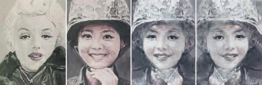 Lot403 李青 《互毁而同一的像·女神》 170×127cm×4 布面 油彩 照片两幅 2011 估价:30-45万