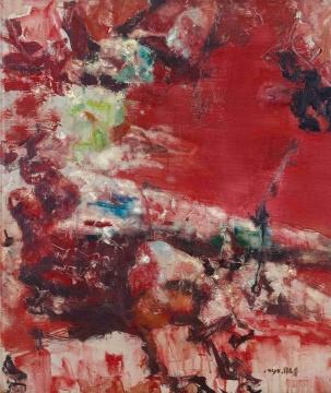 Lot438周春芽《红石》 72.5×61cm 布面油彩 1994年 估价:100-130万