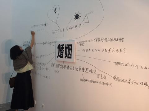 观众在婚姻宣誓墙上积极参与互动