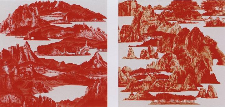 韩国艺术家李世贤的《红色之间-山水》奠定了红山餐厅的主色调和展示作品的类别