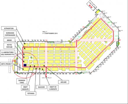 图中蓝色标注为稀奇在 7号馆第一排的展位