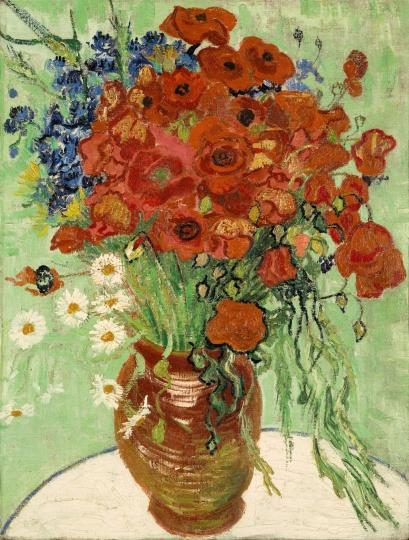 """""""艺术东西""""展览中王中军收藏之梵高1890年创作的作品《雏菊与罂粟花》"""